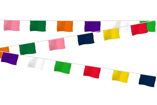Vlaggenlijn stof 15x28cm Vrolijke Kleuren 20m Latijns-Amerikaanse sfeer