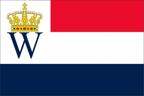 Vlag 200 jaar Koninkrijk der 100x150cm Oud hollands blauw