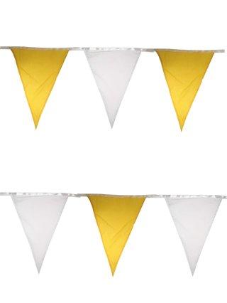 Vlaggenlijn katoen geel wit 10m