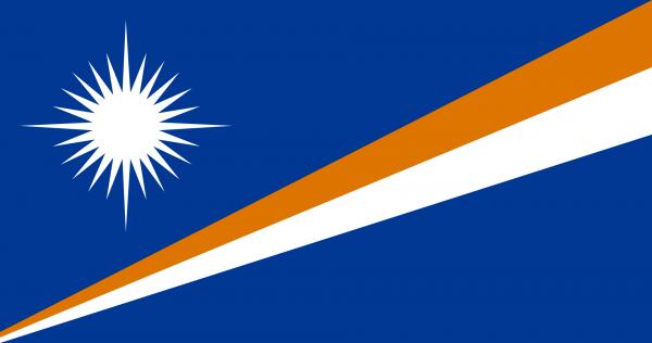Tafelvlag Marshalleilanden met standaard