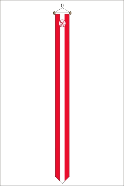 Leidse wimpel 25x300cm met stokje met de Sleutels van Leiden erop