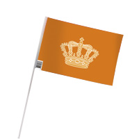 Oranje zwaaivlaggen met kroon 20x30cm voor koningsdag