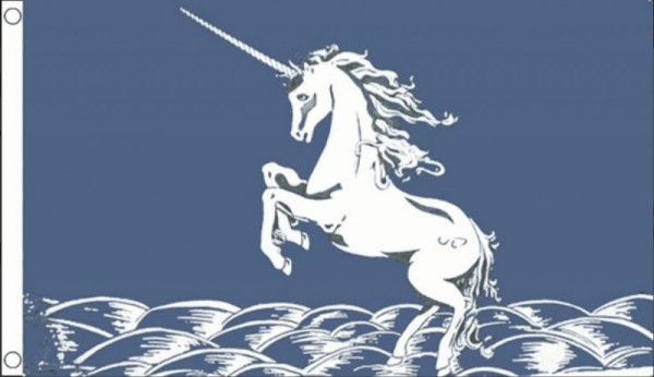 blauwe unicorn vlag 90x150cm