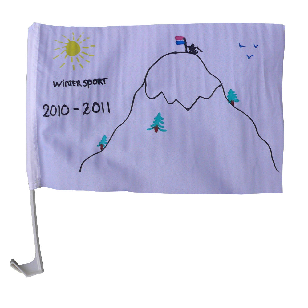 Autovlag wintersport gemaakt met Vlaggenclub pakket