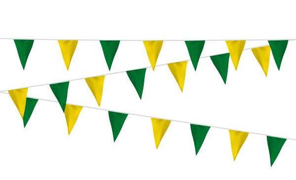 Vlaggenlijn groen/geel, geel/groen stof 20m, extra zware kwaliteit