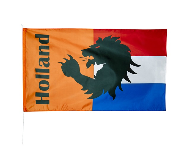 Holland Rood Wit Blauw vlag Oranje met leeuw 90x150cm voor het EK | WK en Koningsdag