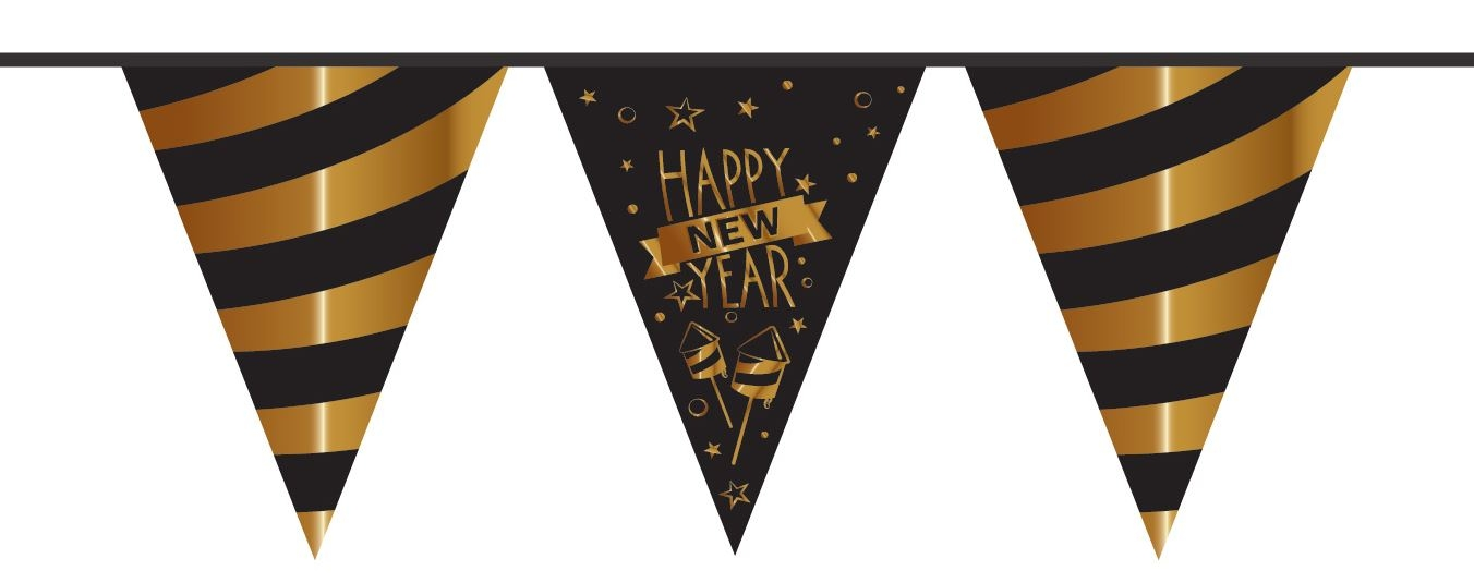 Vlaggenlijn happy new year in zwart met goud 10 meter voor for Goud zwart versiering