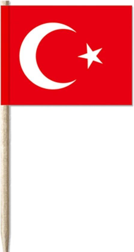 Cocktailprikkers met Turkse vlag, Turkije Kaasprikkers, 50 stuks