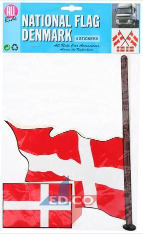 Stickers Deense vlag Denemarken 4 stuks (2 varianten)
