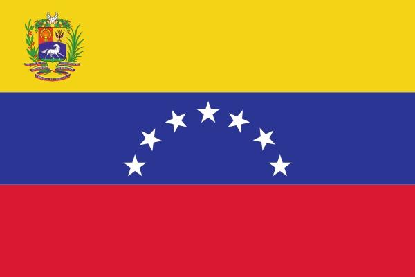 vlag Venezuela met wapen | Venezolaanse vlaggen 100x150cm