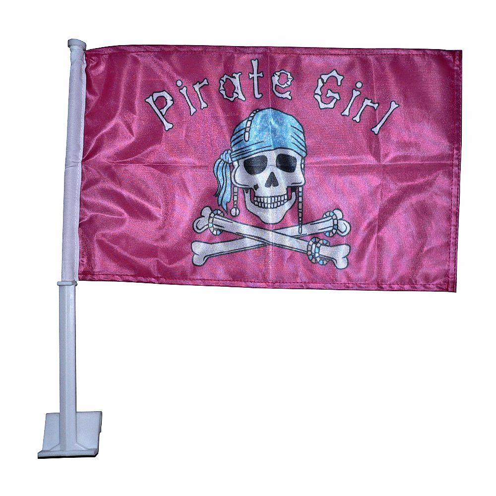 Autovlag Pirate Girl luxe autovlaggen 30x45cm