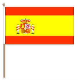 zwaaivlag Spanje met wapen 30x45cm, stoklengte 60cm