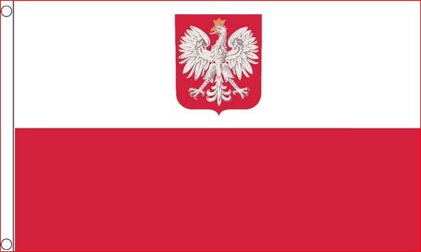 Vlag Polen met wapen 150x240cm grote staatsvlag ofwel koopvaardij vlag
