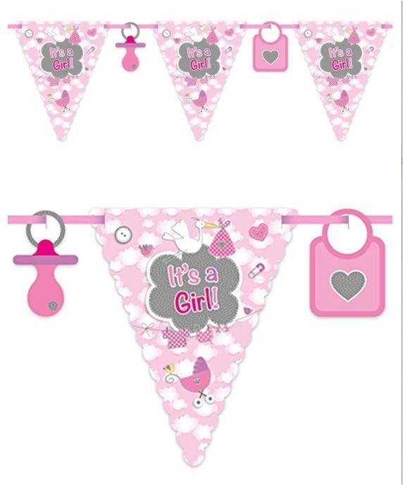 Vlaggenlijn roze 6m It's a girl