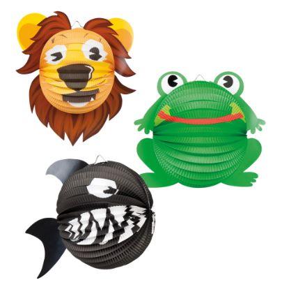 Lampion Dieren Leeuw, Haai, Kikker, 22cm assort