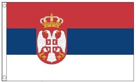 Vlag Servië met wapen 60x90 Best value