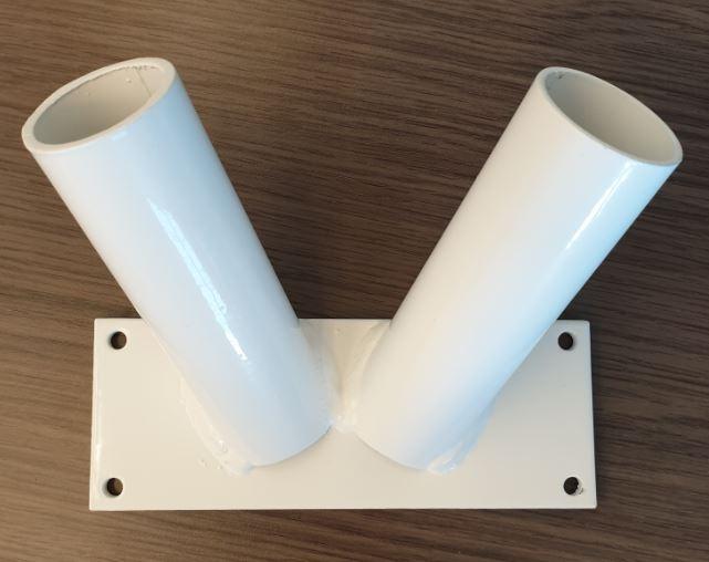 Vlaggenstokhouder Duo Wit voor twee stokken 30mm muurbevestiging