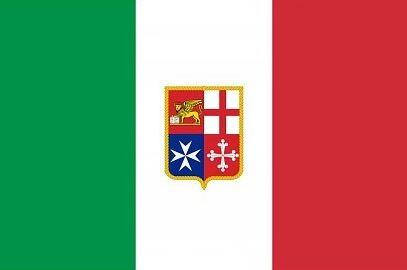 vlag Italië met wapen 70x100cm koopvaardijvlag