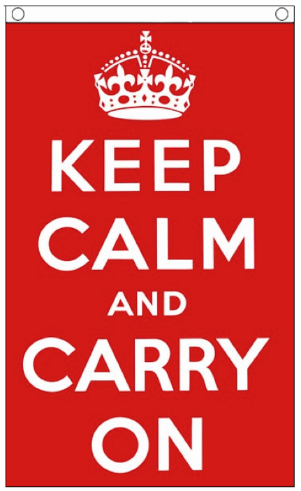 Rode Vlag met tekst keep calm and carry on 90x150cm