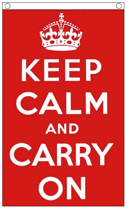 Vlag rood met tekst keep calm en carry on 90x150cm