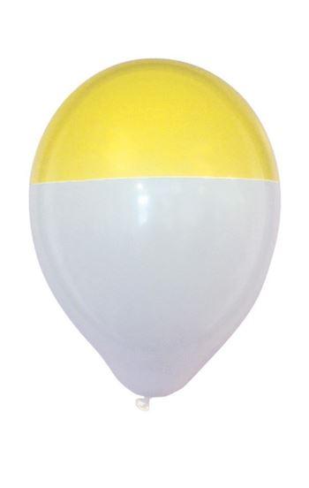 ballon wit-geel dip bicolour 25 stuks