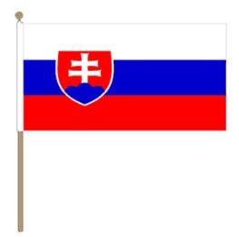 Zwaaivlag Slowakije, Slowaakse zwaaivlag 30x45cm, stoklengte 60cm
